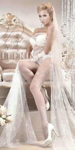 COLLANT BIANCO SPOSA ART. 114 CON RAMAGE LATERALE 20 DEN