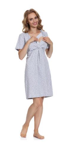 Camicia da notte allattamento in cotone premaman White Bear 3