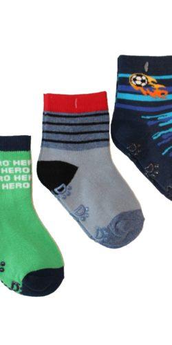 3 paia calzini antiscivolo in cotone bambino 0-3 anni assortiti