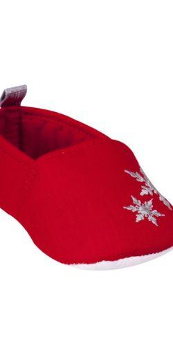 Pantofoline rosse natalizie neonata in cotone 0-12 mesi