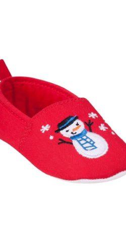 Pantofoline natalizie rosse neonati 0-6 mesi in cotone