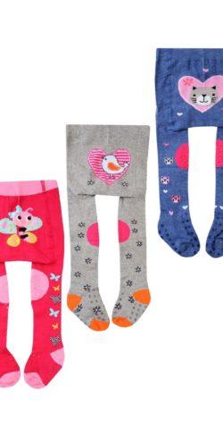 Set 3 calzamaglie antiscivolo per gattonare bimba in caldo cotone fantasie assortite