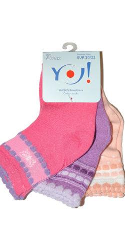 3 paia di calzini in cotone per bambine colori assortiti