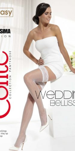 Autoreggenti a rete sposa con balza in pizzo Wedding Bellissima