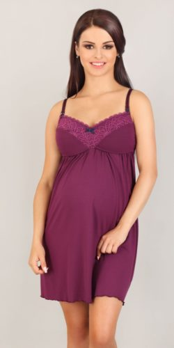 Camicia da notte allattamento e gravidanza in viscosa e pizzo viola
