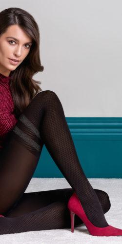Collant coprente donna fantasia calze jacquard Kate
