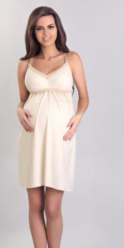 Camicia da notte per gravidanza e allattamento in viscosa e pizzo beige