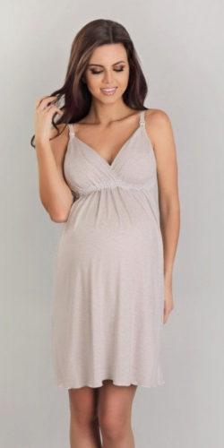 Camicia da notte per gravidanza e allattamento in viscosa beige
