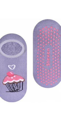 Calzini antiscivolo in caldo cotone per bambine grigio muffin