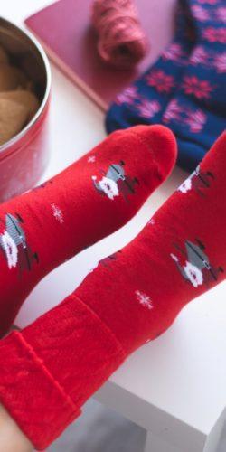2 paia di calzini natalizi in caldo cotone taglie 35-40 assortiti