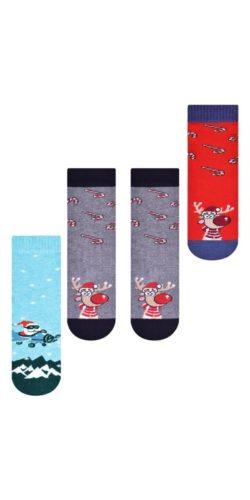 3 paia di calzini natalizi bambini 3-8 anni in cotone assortiti