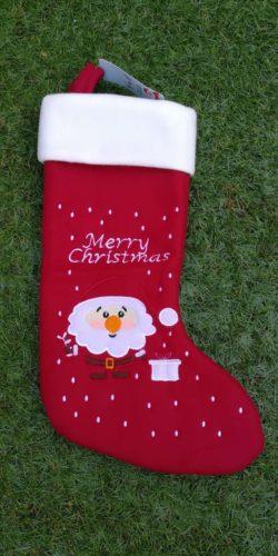 Calza natalizia in feltro rosso Babbo Natale Merry Christmas
