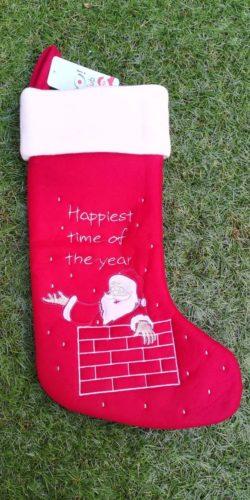 Calza natalizia in feltro rosso Babbo Natale