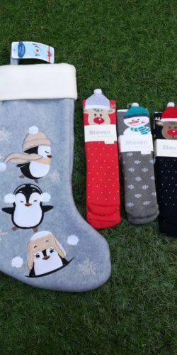 Set regalo calza natalizia in feltro e 3 paia di calzini natalizi bambini 3-8 anni assortiti