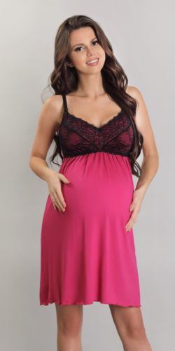 Camicia da notte gravidanza allattamentio in viscosa e pizzo
