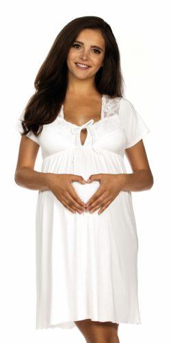 Camicia da notte per gravidanza e allattamento in viscosa e pizzo