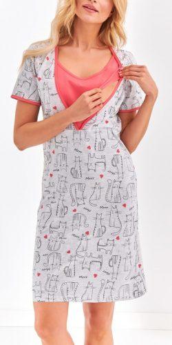 Camicia da notte allattamento in cotone a mezza manica Linda