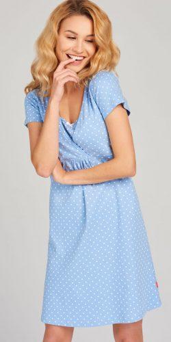 Camicia da notte premaman mezza manica in cotone a pois