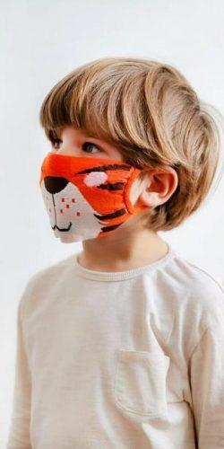 Mascherina lavabile per bambini in tessuto Oeko-tex Tigre