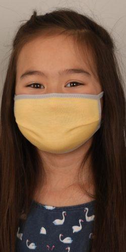 Mascherina lavabile per bambini in cotone giallo