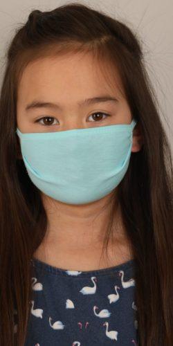 Mascherina lavabile per bambini in cotone azzurro