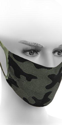 Mascherina lavabile in microfibra Oeko-tex fantasia militare