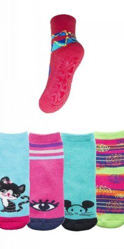 2 paia di calzini antiscivolo bambina in caldo cotone assortiti