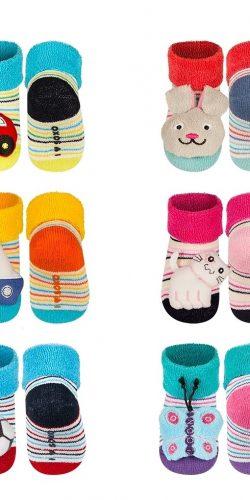 3 paia di calzini antiscivolo con sonagli peluche assortiti maschietto