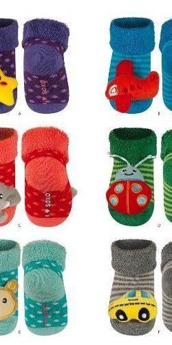 3 paia di calzini antiscivolo con sonagli peluche assortiti femminuccia