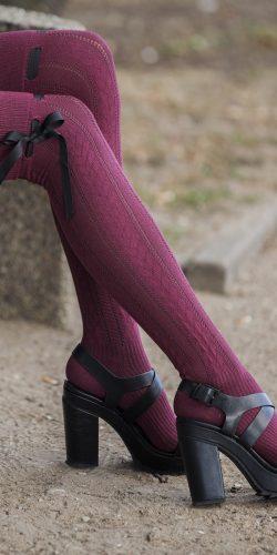 Parigine in cotone maglia strutturata a trecce con fiocco
