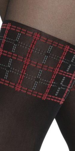 Collant finte calze balza fantasia check rosso 20/60 den Girl-Up 36