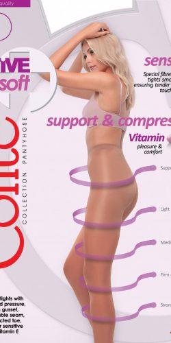 Collant a compressione graduata per pelli sensibili 20 den