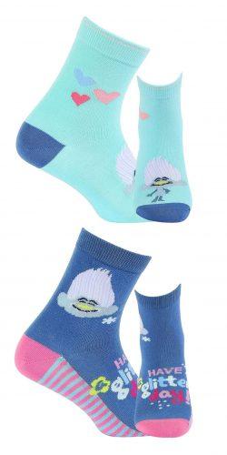 2 paia di calzini cotone bambina fantasia Trolls assortiti