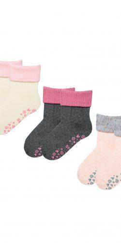 3 paia di calzini antiscivolo caldo cotone bimba 1-4 anni assortiti