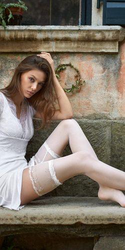 Autoreggenti bianche sposa balza in pizzo 20 den